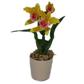 光触媒 造花 ミディカトレア 黄赤 1本立ち