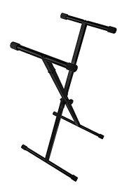 SYMPHA シングルフレーム キーボードスタンド X型/折りたたみ 電子ピアノスタンド/Keyboard Stand (黒 Black)