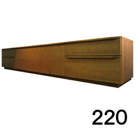 【4月下旬お届け】 テレビボードMV 220 2段タイプ ブラックチェリー色 天板&側面ツキ板ver. 家具のよろこび 【店頭受取対応商品】