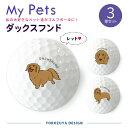My Petsゴルフボール(3球入)【定型デザイン・ダックスフンド(レッド)】/おもしろ