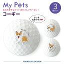 My Petsゴルフボール(3球入)【定型デザイン・コーギー(レッド&ホワイト)】/おもしろ