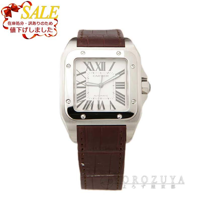 Cartier カルティエ サントス100 LM W20073X8 SS/革ベルト ホワイト 自動巻き ベルト新品 メンズ腕時計 【中古】