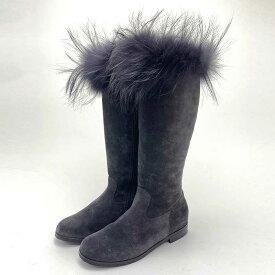 Christian Dior クリスチャン・ディオール キッズ ロングブーツ スウェード カーフ ラクーン グレー 3HBS16SHOK #32 子供靴 【中古】