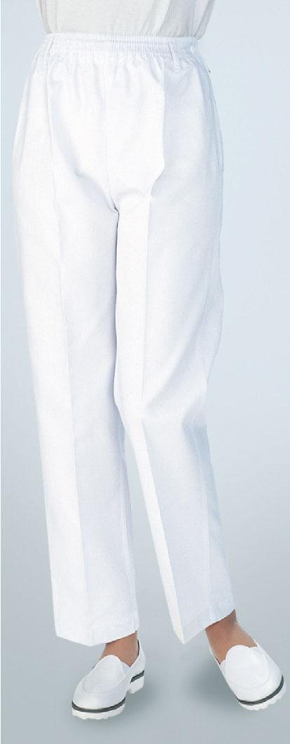 【ラッキーシール対応】白衣 女性トレパン・総ゴム厨房 食品 医療 看護 介護 トレーニングパンツ スラックス ズボン レディス ウエストゴム 総ゴム 810-40【】