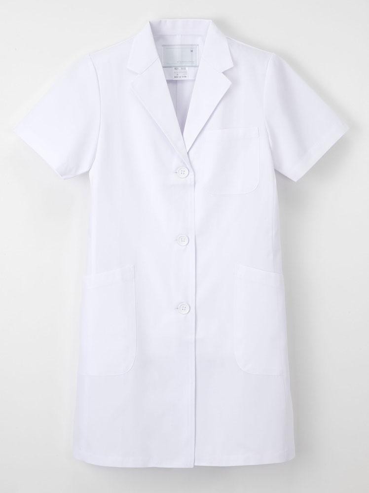 【ラッキーシール対応】白衣 ノーアイロン! 女性ドクター用白衣 ホワイト 半袖 ハーフ丈KEX5132【】