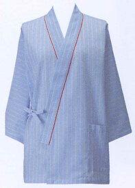 【ラッキーシール対応】患者衣上衣(甚平型)/ブルーストライプ285-98【】