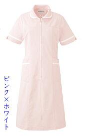 【ラッキーシール対応】白衣 女性用、ナースワンピース白衣カラー/ピンク×ホワイト 021-24【】