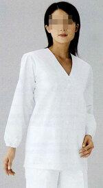 白衣 黄色ブドウ球菌他の増殖を抑制する素材女性調理衣白衣 衿なし 長袖C201【】