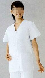 【ラッキーシール対応】白衣 黄色ブドウ球菌他の増殖を抑制する素材女性調理衣白衣 衿なし 半袖C251【】