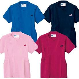 花びらスクラブ白衣 女性用 全4色 衿、袖、ポケットに花びらモチーフ JI-WH12095【】