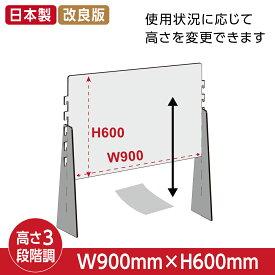 【国内メーカー】[日本材料][アクリル板に比べ4〜5倍の強度があるPET樹脂製]高さ調整可能幅900x高600mm 耐衝撃PETパーテーション 飛沫防止 透明 仕切り板 ウイルス対策 衝立組立式 [受注生産、返品交換不可] pcap-9060