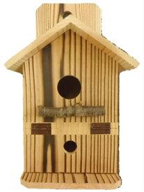 【巣箱】「扉付き・焼杉の鳥の巣箱(背板有り)」幅140×奥行185×高さ235ミリ(国産杉)送料無料