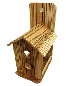 【鳥の餌台】焼杉バードフィーダー2個セット(背板有り)」幅140×奥行185×高さ235ミリ(国産杉)送料無料
