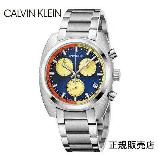 雑誌掲載モデル (正規品/3年保証付き) カルバン クライン アチーブ クロノグラフ腕時計 K8W3714N ブルーダイヤル CALVIN KLEIN Achieve  メンズ 正規品 【送料無料】 【腕時計/刻印名入れ有料】0214Jun18