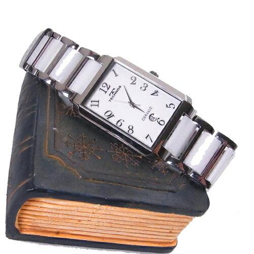 (あす楽)テクノス 腕時計 (TECHNOS) 3気圧防水 サファイアガラス T9309TW メンズ ホワイトセラミックベルト【RCP】【送料無料】【楽ギフ_包装】【半額】【02P04Sep18】