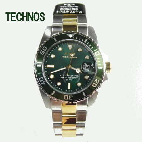 (あす楽)テクノス 腕時計 (TECHNOS)  グリーン ダイバーズ20気圧防水 T2118TM メンズ【RCP】【送料無料】【楽ギフ_包装】【スーパーSALE】02P04Mar19