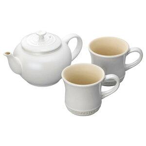 ル・クルーゼ ティーポット&マグ(SS)(2個入り)セットホワイトラスター 結婚祝い 新築祝い 引っ越し 引越し 御祝 お祝い ギフト プレゼント 贈り物 おしゃれ 食器セット コーヒーカップ
