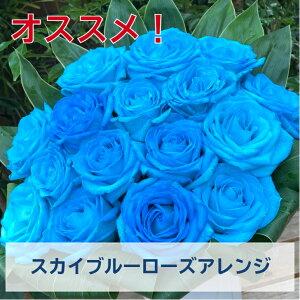 スカイブルーローズアレンジ 送料無料 ギフト プレゼント 花 おしゃれ お花 水色 青 青色 ブルー スカイブルー ローズ おすすめ アレンジメント フラワーアレンジメント 可愛い バラ フラワ