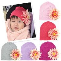 よつば洋品店オリジナル☆コサージュ付きベビー用ニット帽