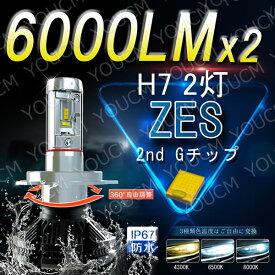 Volvo S80 H18〜 AB63 HID仕様 ハイビーム 【車検対応】LEDヘッドライト H7 オールインワン一体型 最新ZES チップ 6000LmX2 6500K(純白色) 変光シール付4300K(黄色),8000K(蒼白色)調整可 細い発光 角度調整機能 DC 12v/24v [YOUCM][2年保証付き]