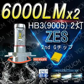 トヨタ クラウン アスリート H17.10〜H20.1 GRS18系 ハイビーム 【車検対応】LUMLEDSチップ LEDヘッドライト HB3(9005)オールインワン一体型 最新ZES チップ 6000LmX2 6500K 変光シール付4300K,8000K 細い発光 DC 12v/24v [YOUCM][2年保証]