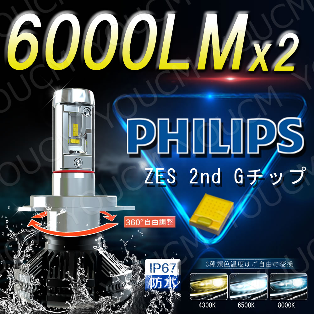 三菱 アウトランダー H22.1〜 CW#W フォグ H8/H11 LEDヘッドライト LUMLEDS 最新ZES チップ 6000LmX2 6500K 変光シール4300K,8000K調整可 細い発光 角度調整機能付き DC 12v/24v YOUCM[05P01Oct16]2年保証付き