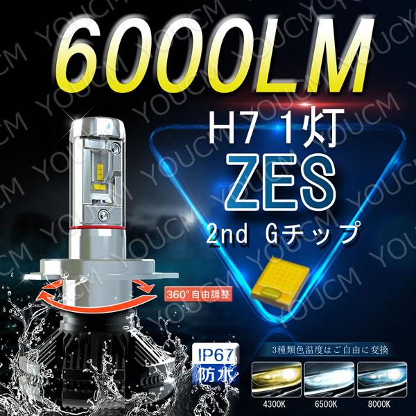 Suzuki GSX-R750 2006-2007 GR7JA H7 オールインワンLEDヘッドライト LUMLEDS 最新ZES チップ 6000Lm 6500K 細い発光角度調整機能付き DC 12v/24v 4300K,8000シール付 1灯[YOUCM][2年保証]
