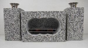 【送料無料】白御影石 墓用 香炉セット L 約42kg