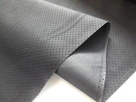 【在庫限りのOUTLET】人工皮革スエードパンチング加工+裏打ち品厚手 1.2mm ブラックのみ