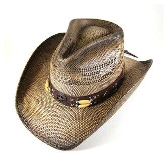 #320000 bullhide (BULLHIDE) straw Western Hat - DESPERADO / Desperado Womens Cowgirl straw hat straw hats Fedora resort beach fashion RUN & MUCK COLLECTION DESPERADO BROWN 2709 S Brown Brown