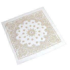 #218269ハブアハンク HAV-A-HANK バンダナ GOLD METALLIC PAISLEY WHITE ゴールドメタリックペイズリー・ホワイト 55×55cm