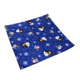 #218238ハブアハンク HAV-A-HANKバンダナ (55×55cm) SNOWMAN スノーマン スカーフ ハンカチ ヘアアレンジ リボン 風呂敷 ポケットチーフ 大判 正方形 お弁当包み サンタクロース 雪だるま 雪の結晶 青 ブルー