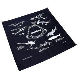 #138048ザ・プリンテッドイメージ(THE PRINTED IMAGE)バンダナ(55×55cm) - SHARKS/シャークス スカーフ ハンカチーフ 大判 弁当包み サメ 鮫 紺 ネイビー
