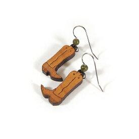#986053ナチュラルハーモニー(Natural Harmony)カービングウッドイヤリング - COWBOY BOOTS/カウボーイブーツ ユナカイトストーン インディアンジュエリー アメリカンピアス フックイヤリング 耳飾り 木製 彫刻 WOOD CARVED EARRING