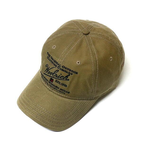 #980004ウールリッチ(WOOLRICH)オイルフィニッシュクロスキャップ メンズ レディース 帽子 野球帽 ベースボールキャップ コットンキャップ CAP ロゴ 刺繍 ステッチ 調節可 カーキ オリーブ グリーン W1619 TAN 【RCP】