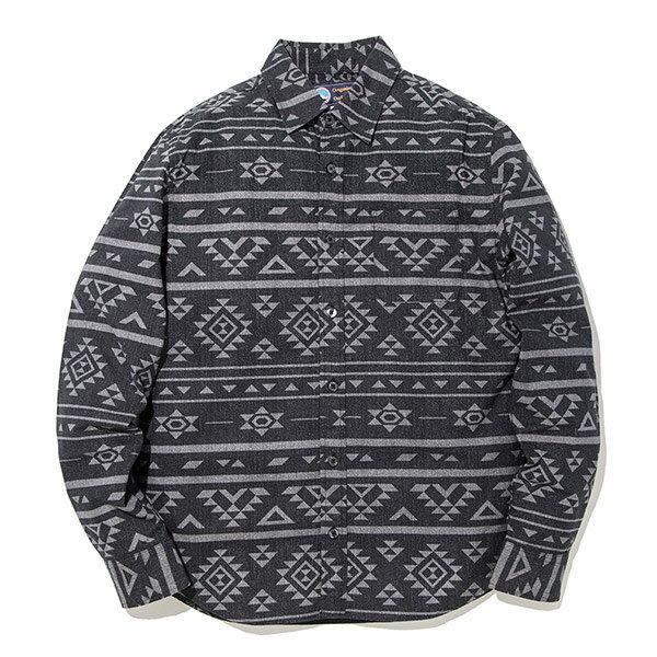 #922064オレゴニアンアウトフィッターズ(Oregonian Outfitters) 長袖シャツ オルテガ柄 ネイティブ柄 メンズ 胸ポケット 黒 ブラック M L Men's Long sleeve shirt Ortega pattern Made in Japan 【RCP】