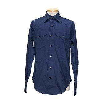 #152014得克薩斯(TEXAS COTTON)uesutanshatsuradokku RUDDOCK人美國米飯國產素色西部襯衫長袖子襯衫長袖子西部襯衫糖果舵美國的休閒的有機藍色青S M L G13T08 10P03Dec16