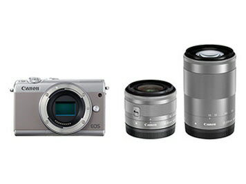 【ポイント5倍】CANON デジタル一眼カメラ EOS M100 ダブルズームキット [グレー] [タイプ:ミラーレス 画素数:2580万画素(総画素)/2420万画素(有効画素) 撮像素子:APS-C/22.3mm×14.9mm/CMOS 連写撮影:6.1コマ/秒 重量:266g] 【楽天】 【人気】 【売れ筋】【価格】