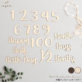 誕生日 飾り付け バースデー 木製 マンスリーレターバナー 月齢カード 1カ月 6カ月 半年 ハーフバースデー 12カ月 一歳 100日祝い お食い初め 出産祝い ギフト 記念日 アニバーサリー 数字 送料無料 yct regalo