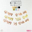 100日&ハーフ対応 バースデー レターバナー ガーランド 誕生日 パーティー 飾り付け 100日 1歳 飾り HAPPYBIRTHDAY ハ…