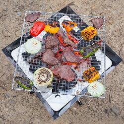 バーベキューコンロ焼き網3枚付きグリルポータブルBBQファイアグリル焚火台キャンプ用品(送料無料)yct