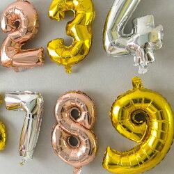 数字バルーンナンバーバルーン40cmゴールド/シルバー大きい風船パーティー誕生日飾り飾り付けかわいいディスプレイビッグサイズycm