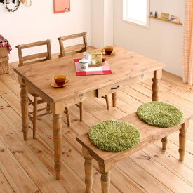 ダイニング テーブル 4人用 ブラウン 幅:120cm〜129cm 奥行き:70cm〜79cm 高さ:70cm〜79cm キャスター無し カントリー デザイナーズ ポップ 和風 木 角型 茶 ブラウン 長方形 かわいい おしゃれ シンプル ナチュラル 北欧 木製