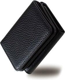 RICKERS ミニ財布 三つ折り財布 レディース 本革 コンパクト 小さい 小銭入れ付 ニュアンスカラー5色(ブラック)