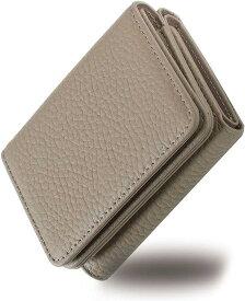 RICKERS ミニ財布 三つ折り財布 レディース 本革 コンパクト 小さい 小銭入れ付 ニュアンスカラー5色(グレージュ)