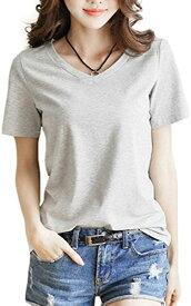 Vネック tシャツ 半袖 おしゃれ ベーシック トップス 白 黒 灰 赤 黄 レディース S,(グレー, S)