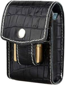 ST TS シガレット ケース レザー ジッポ 収納 可能 タバコ 煙草 入れ ポーチ ベルト シザーバッグ 01 ブラック(01 ブラック)