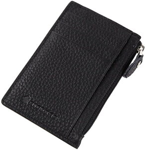 RICKERS フラグメントケース 薄型カード入れ 小銭入れ 本革 男女兼用 両面ポケット(ブラック)