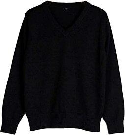 セーター Vネック 長袖 無地 スクールセーター 女子 高校生 学生 制服 男女兼用 オフィス 綿 ブラック/M(ブラック, M)
