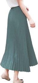 スリーピングシープ 全15色 オールシーズン使える Aライン プリーツ フレア ロング ベーシック スカート 裏地付き マキシ丈 無地 着痩せ アコーディオン 丈90cm(10.ミントグリーン, 丈90cm)